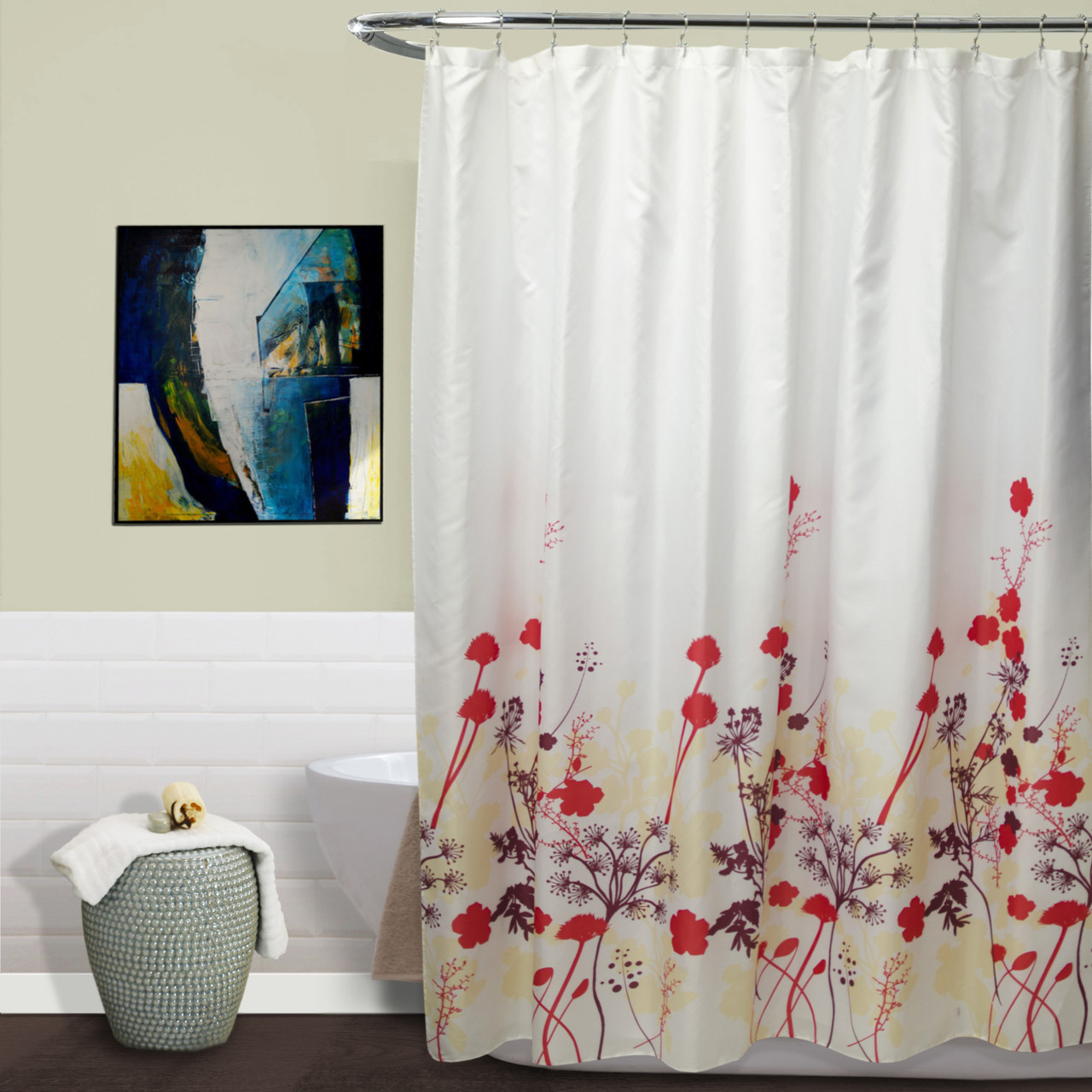 Kimberly Red Floral Fabric Shower Curtain 70x70 Inch