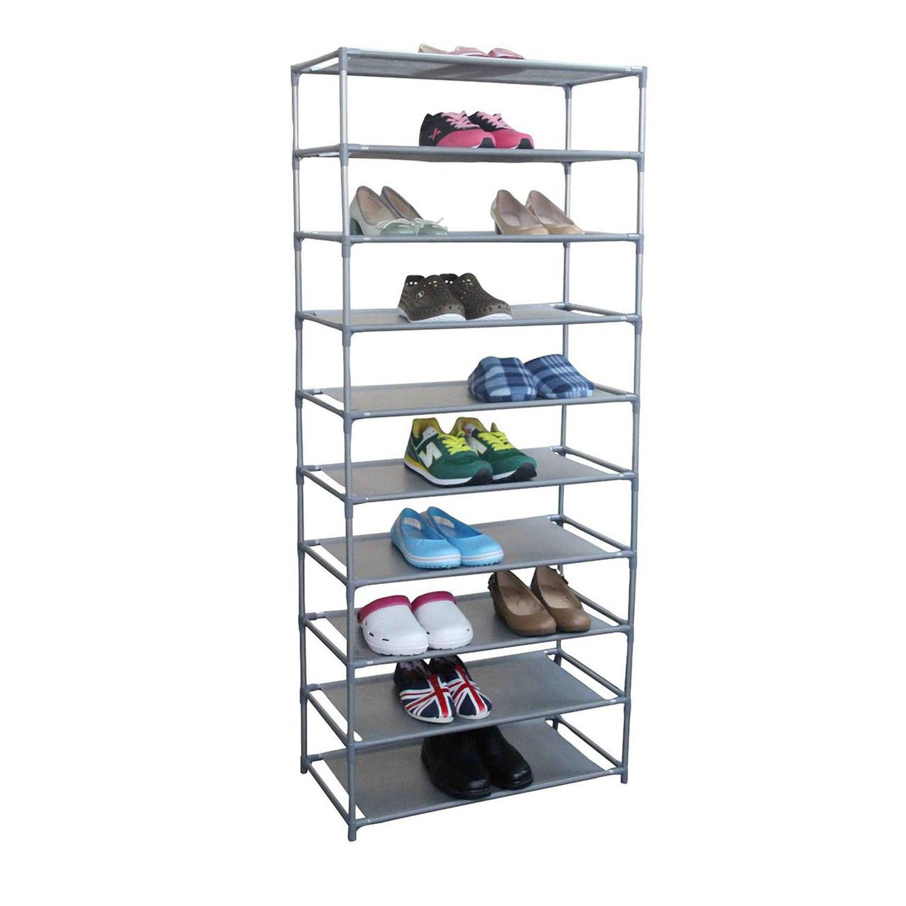 Home Basics Free Standing Shoe Rack  Tier Wide