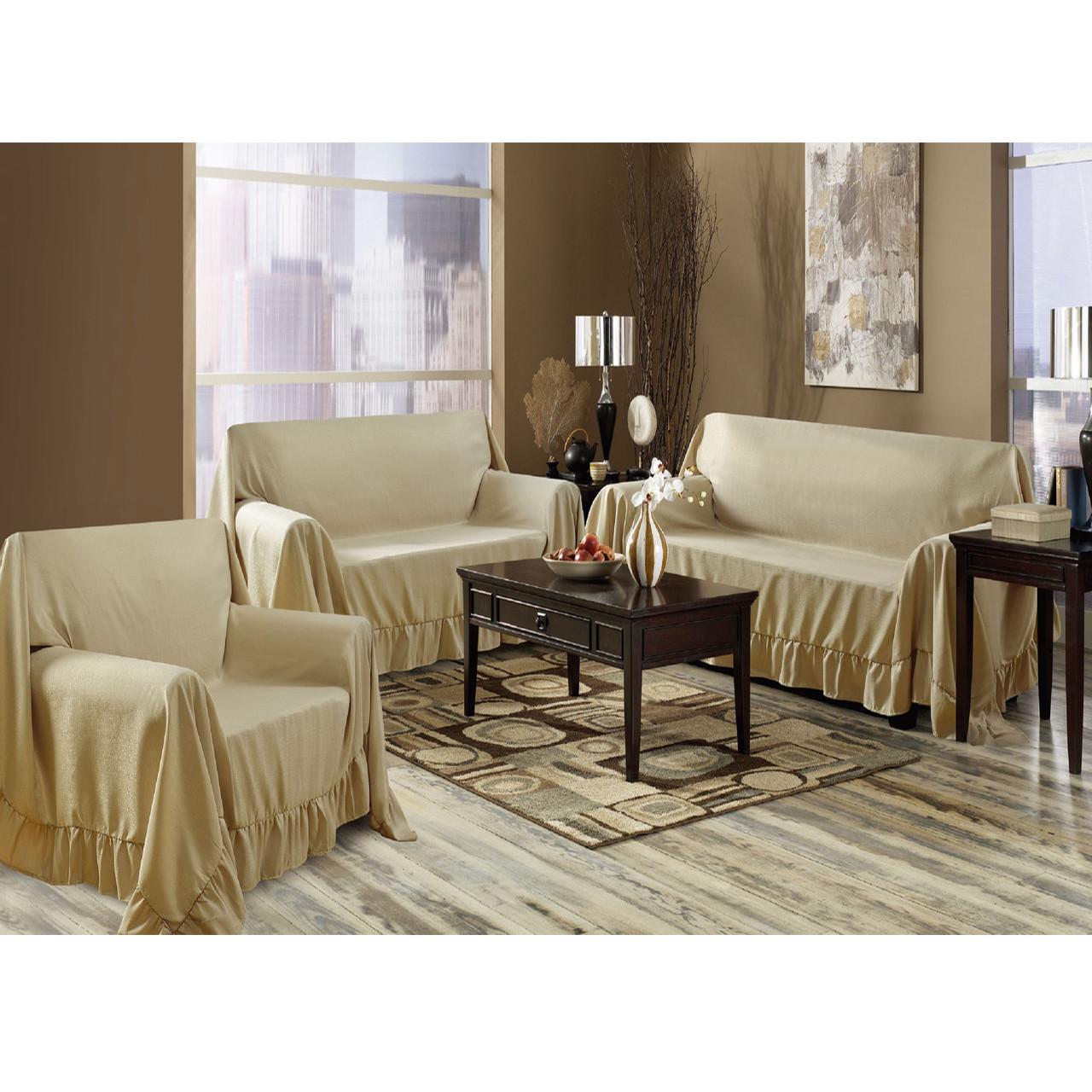 Venice 3 Piece Sofa, Loveseat, Chair Protector Throw Cover