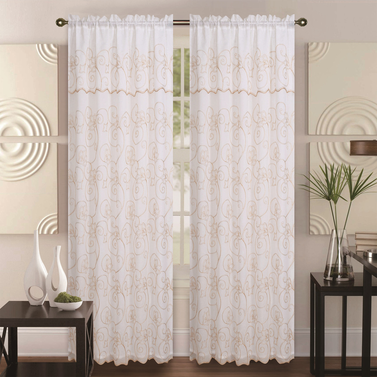 Window Curtain Double Layer Embroidery Floral Sheer Linen