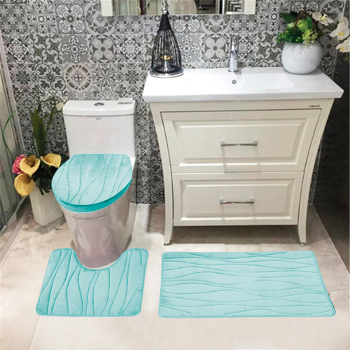 Turquoise Bath Rugs For Dry The Feet Simple Turquoise: Connie Embossed Foam Plush 3pc Microfiber Bathroom Rug Set
