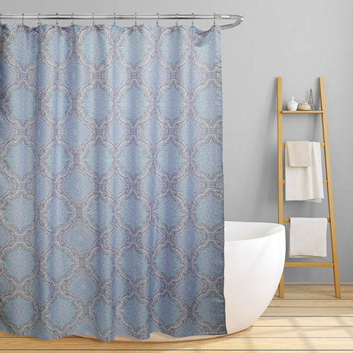 "Linen Store Fabric Canvas Shower Curtain, 70""x70"", Lexi, Contemporary Geometric Inspired Design"