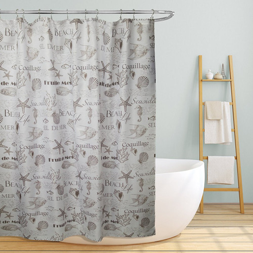 "Linen Store Fabric Canvas Shower Curtain, 70""x70"", Shelley, Beach Life Inspired Design"