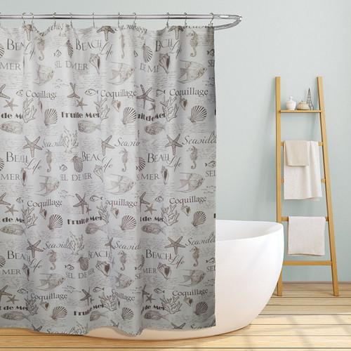 "Linen Store Fabric Canvas Shower Curtain, 70""x70"", Shelley, Beach Life Inspired Design"