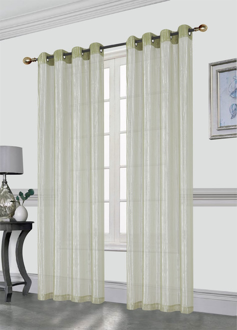 Kashi Home Sasha Decorative Foil Printed Sheer Window Curtain Panel With Metal Grommets 54x84 Inch