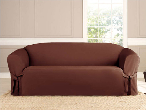 2-Piece Micro-suede Slipcover Set (Loveseat & Sofa) Brown