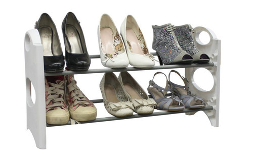 White 6 Pair Shoe Tower