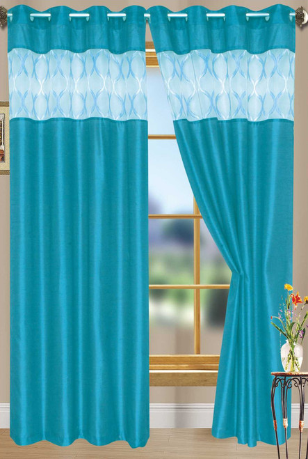 """Bali Faux Silk Curtain Panel 2 Pack, 54""""x84"""" - aqua"""