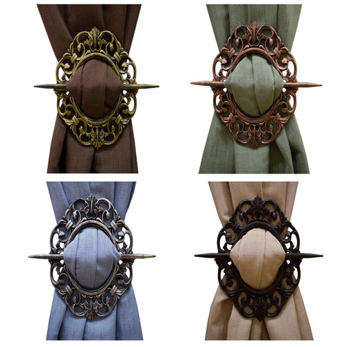 Oval Antique Holdbacks, Tie-backs, Gold, Bronze, Silver, Mahogany