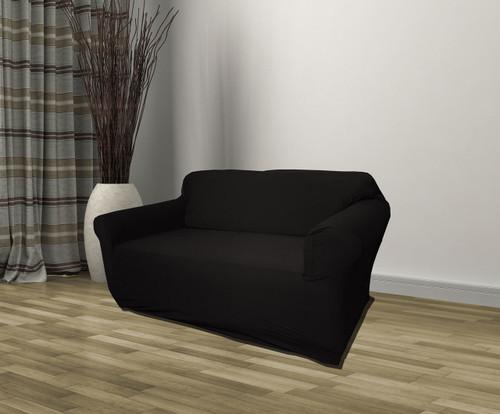 Kashi Home Stretch Jersey Loveseat Slipcover - Black