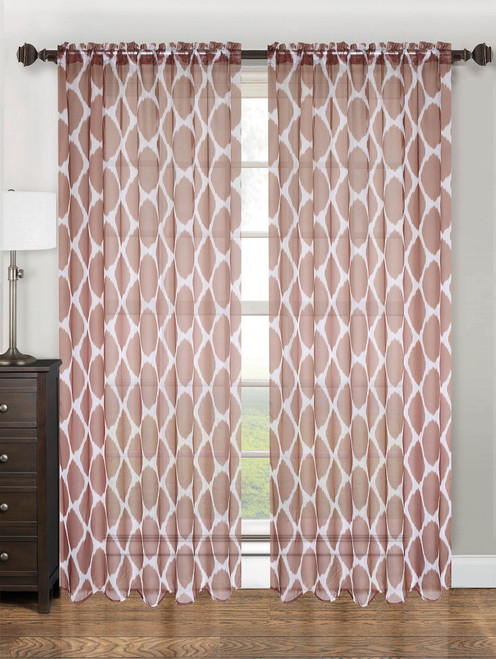"Sheer Voile Lattice Pattern Printed Curtain Panel with Rod Pocket, 55""x84"", May - Chocolate"