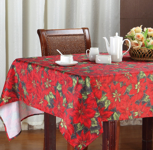 Christmas Holiday Design Fabric Tablecloth, Red Poinsettia