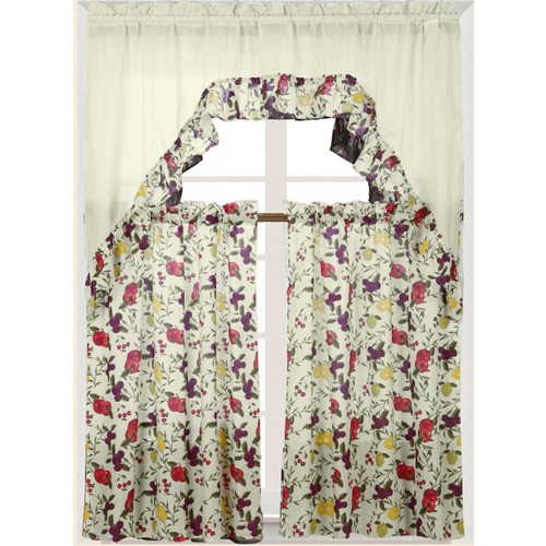 Fruits Printed Kitchen Curtain Swag Set