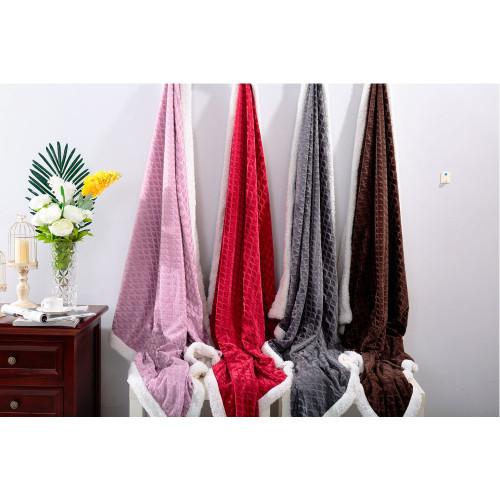 Mermaid 50x60 Sherpa Throw Blanket, Reversible - Red , Brow, Grey, Lavender