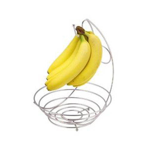 Nickel Plated Fruit Bowl With Banana Tree, Simplicity Collection