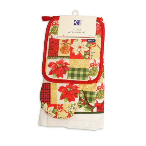 3pc Kitchen Accessories Set, Kitchen Towel, Oven Mitt, Pot Holder - Christmas Gift