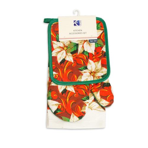 3pc Kitchen Accessories Set, Kitchen Towel, Oven Mitt, Pot Holder - White Poinsettia