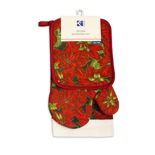 3pc Kitchen Accessories Set, Kitchen Towel, Oven Mitt, Pot Holder - Red Poinsettia
