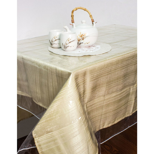 Tablecloth Protector, Durable Double Stitched Edges Clear Vinyl Cover