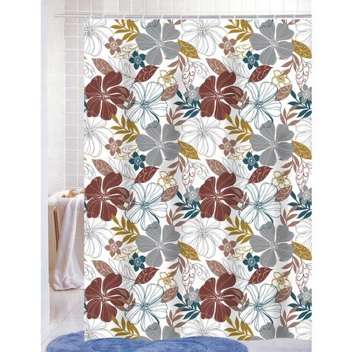 Mia PEVA Vinyl 70x72 Shower Curtain With Matching Metal Hooks, Floral Print (K-SC053014)