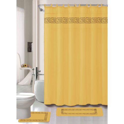 Relatively Greek Key Embroidery 15 Pc Bathroom Accessory Set, Shower Curtain  AI38