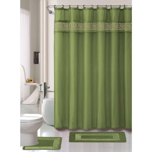 Famous Greek Key Embroidery 15 Pc Bathroom Accessory Set, Shower Curtain  HN93