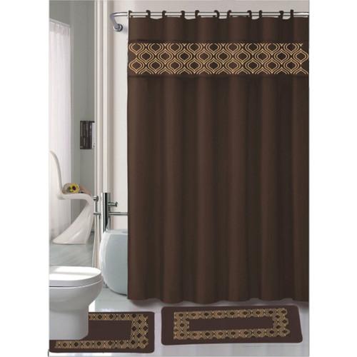 Gabrielle Chocolate 15 Pc Bathroom Accessories Set, Bath Mat, Contour Rug, Shower Curtain With Hooks