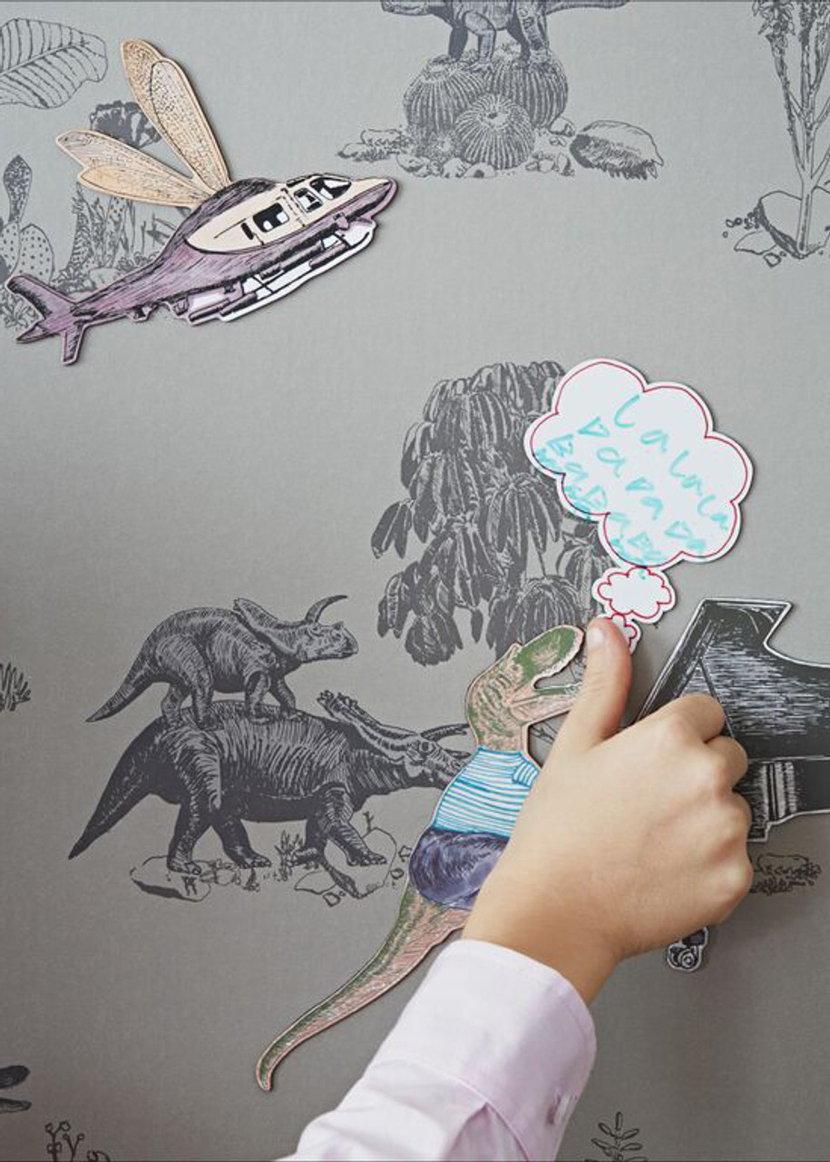 Grey Magnetic Dino Wallpaper