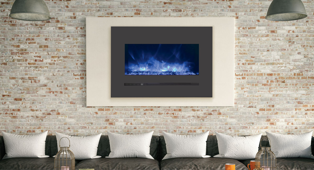 """Sierra Flame 26"""" Wide Linear Multi-Coloured Flush Mount Electric Fireplace with Steel Surround"""