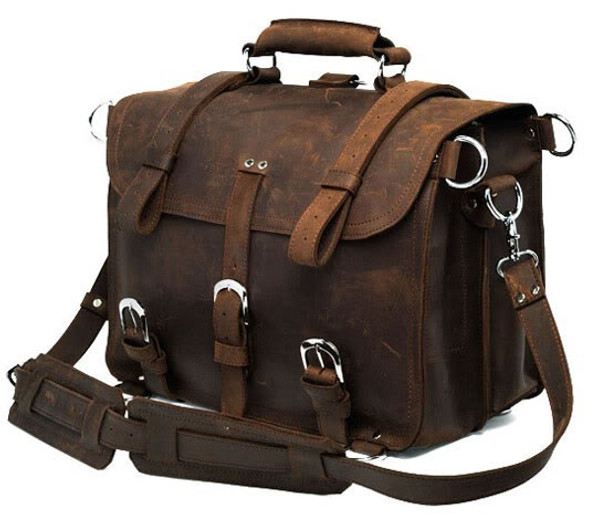 intage Crazy horse Genuine Leather Men Travel Bags