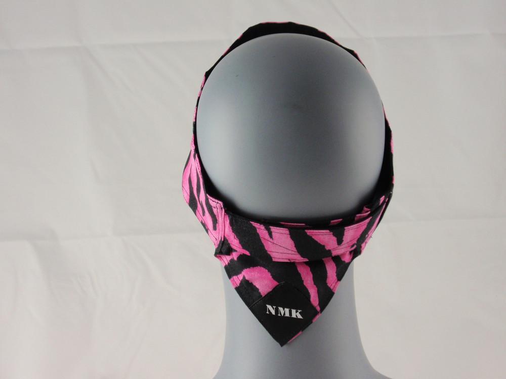Pink Zebra Head Wrap With Hook & Loop Strap