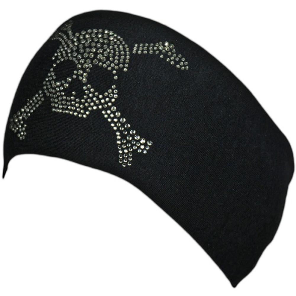 Black Diamond Rhinestone Skull & Crossbones Stretch HeadBand 1