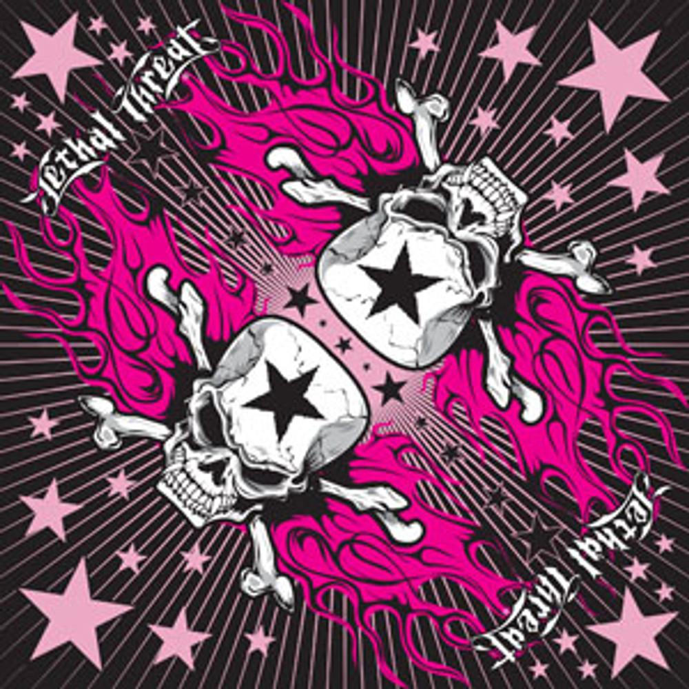 "Lethal Threat Bandana - Cotton - Pink Star Skull - 30"" x 30"""
