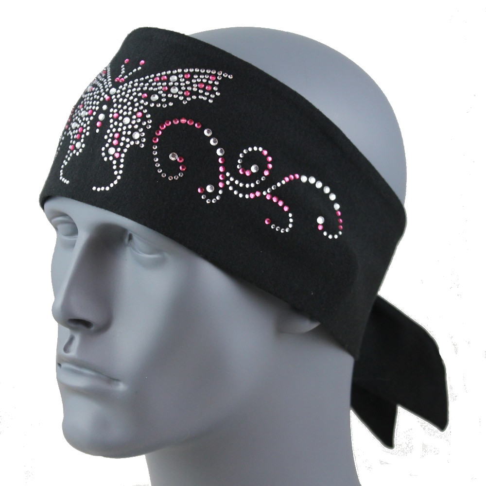 Clear & Pink Rhinestone Butterfly Stretch HeadBand