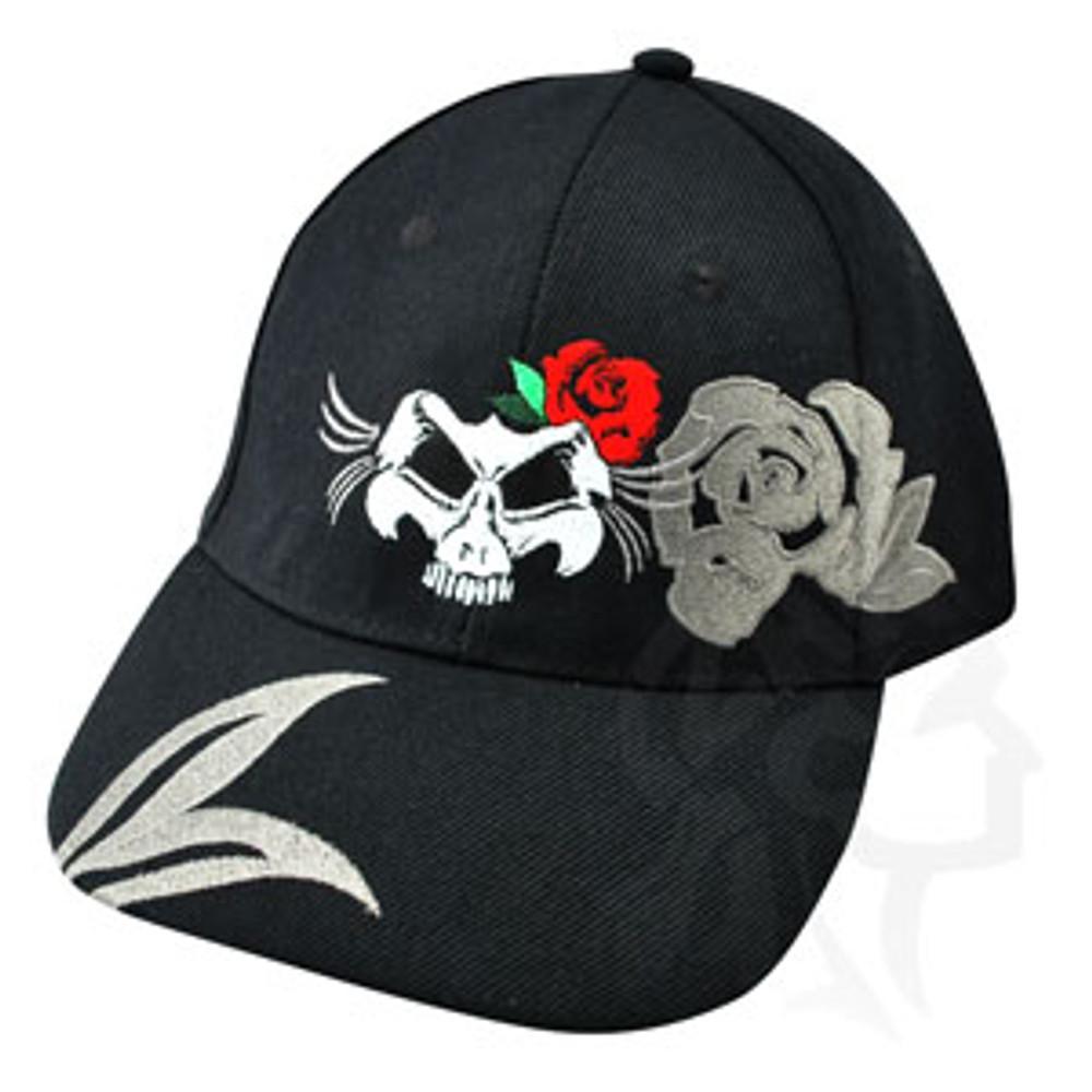 ZANheadgear - Zan Cap - Black - Embroidered Lady Skull