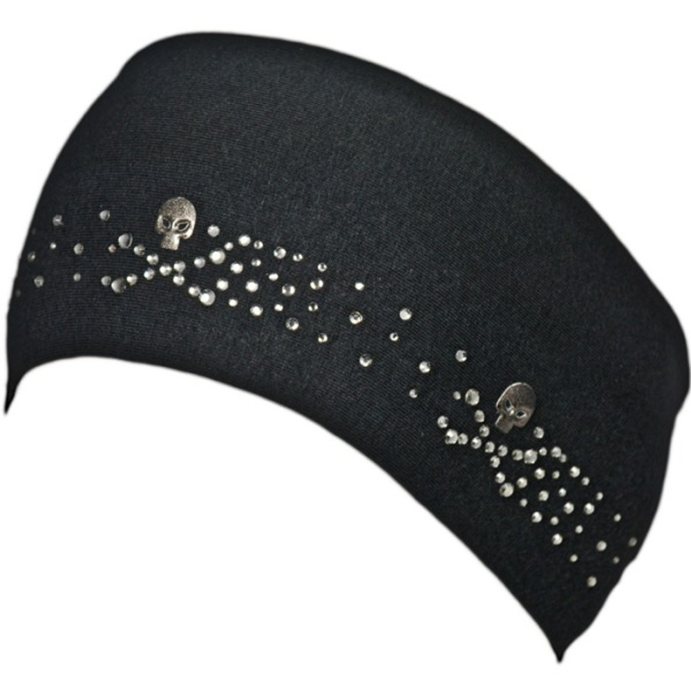 Black Diamond Rhinestone Skull & Crossbones Stretch HeadBand