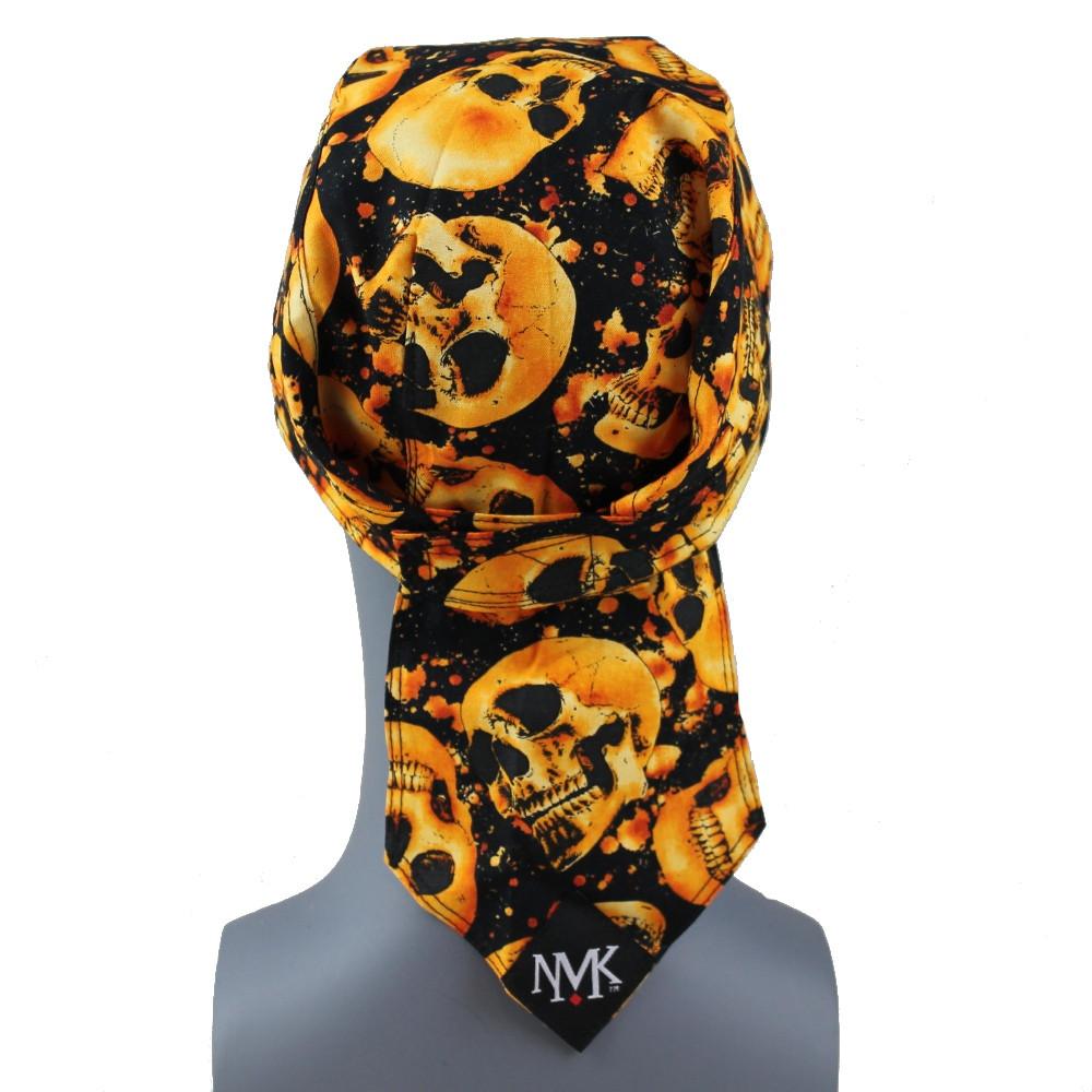 Skull On Fire Doo Rag  -  With Velcro Strap - No Sweatband