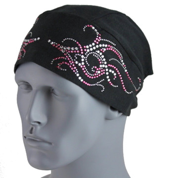 Clear & Pink Rhinestone Tribal Scroll Black Stretch TotalWrap