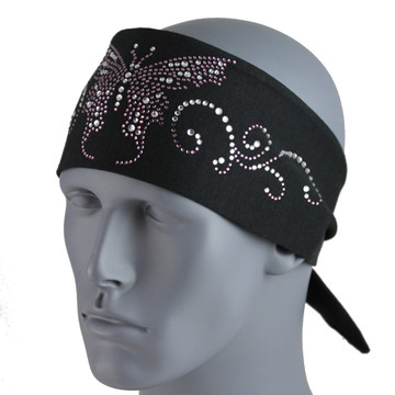 "Pirate 3.5"" Peformance Headband - Purple and White Butterfly by DesignWraps"