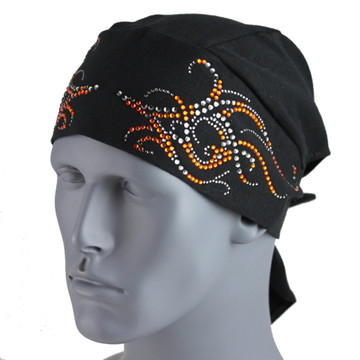 Clear & Orange Rhinestone Tribal Scroll Black Stretch TotalWrap