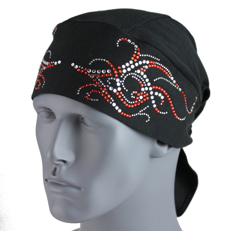 Clear And Red Rhinestone Tribal Scroll Black Stretch TotalWrap