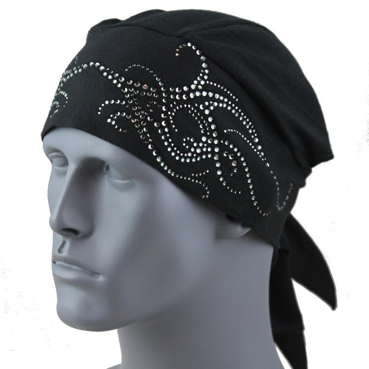 Black Diamond Rhinestone Tribal Scroll Black Stretch TotalWrap
