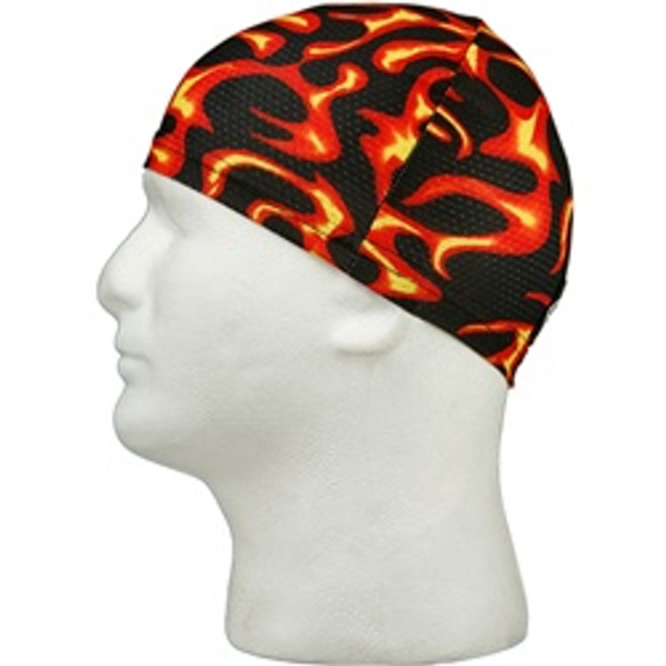 Stretch Skull Cap - Mesh Red Flames