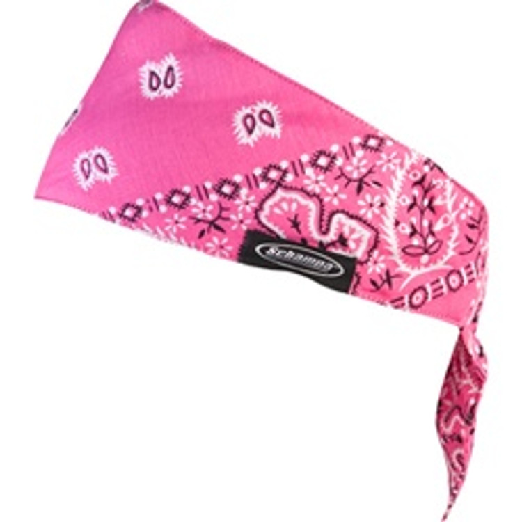 Drop Top Headband, Hot Pink Ground White Paisley