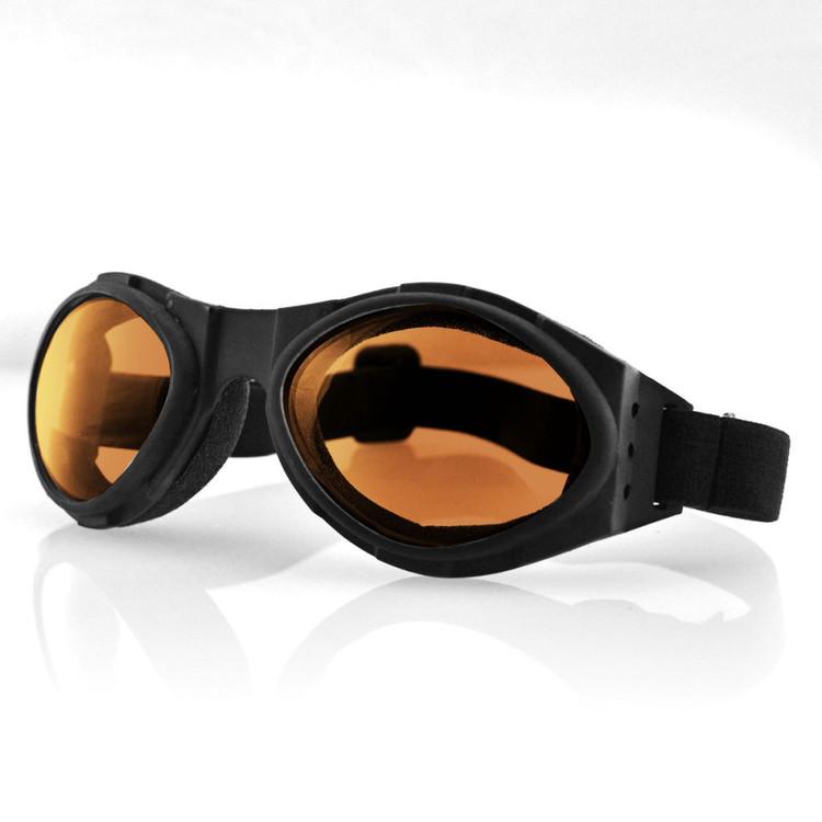 Goggles - Motorcycle - Bugeye - Black Frame - Amber Lens