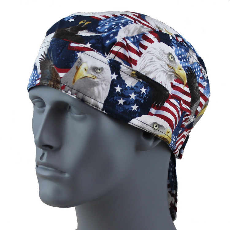 USA Timeless Eagle Doo Rag - With Velcro Staps - No Sweatband