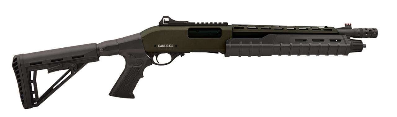 "Canuck Commander Pump Shotgun 12 Gauge, 3"", 14"" Barrel, Telescoping Pistol Grip, 4+1 Rnds, 3 Mobil Chokes, Fibre Optic Sight, OD Green"