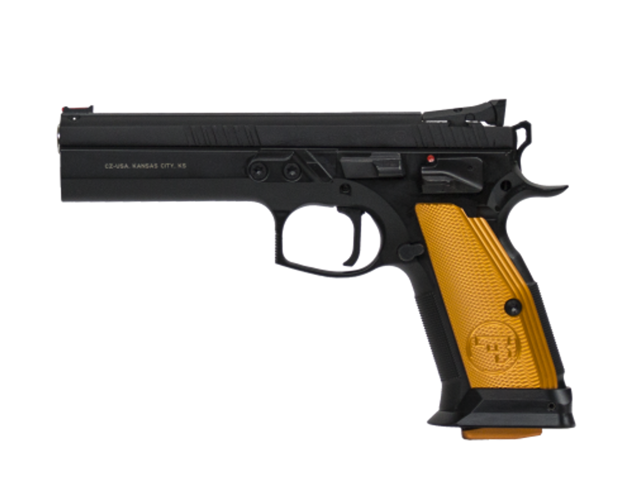 "CZ 75 TS (Tactical Sport) Orange Semi-Auto Pistol, 9mm, Orange Grips, Adjustable Sights, 5.4"" Barrel, 10 Rounds"