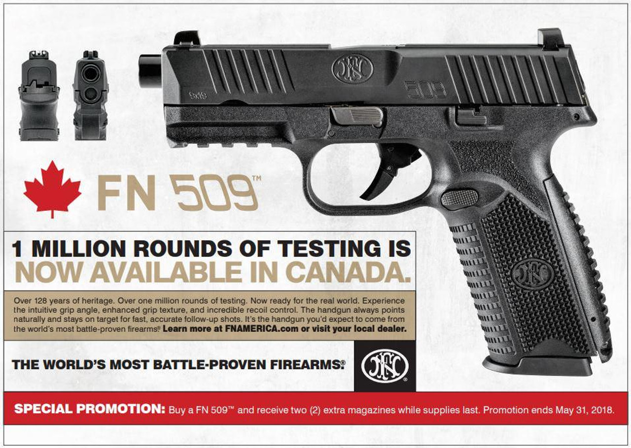 FNH FN 509 Semi-Auto Pistol, 9mm, 10 Round, 108mm Barrel, 4 magazines included (limited time offer)