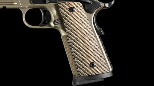 "Sig Sauer 1911 Railed Semi-Auto Pistol, .45 ACP, 5"" Barrel, 8 Rounds, Custom Laminated Grips, Nitron Nickel Finish"